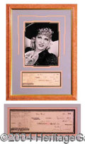 Autographs, Mae West Framed Signed Bank Check