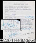 Autographs, Josephine Baker Rare Signed Document