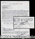 Autographs, Liberace Signed Document