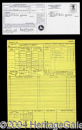Autographs, Elvis Presley Original Plane Log