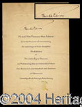 Autographs, Thomas Edison Signed Wedding Invitation