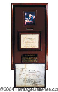 Benjamin Franklin Signed Document Display - Incredibly well preserved signed document as President of the Philadelphia C...
