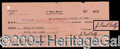 Autographs, J. Paul Getty Signed Bank Check
