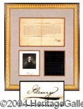Autographs, Patrick Henry Signed Document Display