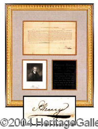 """Patrick Henry Signed Document Display - Revolutionary statesman who voiced the unforgettable phrase, """"Give me liber..."""