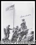 Autographs, Charles W. Lindberg Signed Iwo Jima Photo