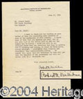 Autographs, Robert A. Millikan Typed Letter Signed