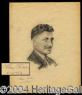Autographs, Wiley Post Signed Artists Portrait