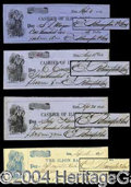 Autographs, Eliphalet Remington, Jr. Signed Check Lot (4)
