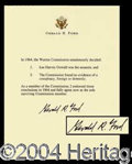Autographs, Gerald Ford Signed Warren Commission Report