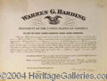 Autographs, Warren G. Harding Signed Pres. Appointment