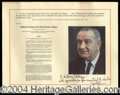 Autographs, Lyndon Johnson Unique Signed Print