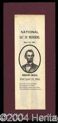 Autographs, (Abraham Lincoln) Memorial Ribbon c.1865