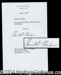 Autographs, Richard Nixon Signed Souvenir Resignation