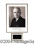Autographs, Harry Truman Nice Signed Large Photo