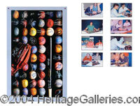 """Baseball Legends! - 20"""" x 34"""" art poster titled """"Base Ball"""" has been signed by 52 of the greatest ba..."""