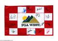 Autographs, Signed PGA Golf Tee Flag Palmer+ More