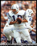 Autographs, Johnny Unitas Signed 11 x 14 Action Photograph