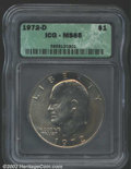 """Eisenhower Dollars: , 1972-D $1 MS65 ICG. The latest Coin World """"Trends"""" price is $..."""