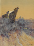 Fine Art - Painting, American:Modern  (1900 1949)  , WILLIAM HERBERT (BUCK) DUNTON (American 1878-1936). HowlingCoyotes, 1909. Watercolor on paper. 9-3/4 x 7-1/8 inches (24...