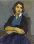 Fine Art - Painting, American:Contemporary   (1950 to present)  , RAPHAEL SOYER (American 1899-1987). Woman in Blue Blouse (WhiteCollar). Oil on canvas. 18-1/8 x 14-1/8 inches (46 x 35....