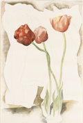 Fine Art - Painting, American:Modern  (1900 1949)  , CHARLES DEMUTH (American 1883-1935). Tulips, circa1920-1925. Watercolor and pencil on paper. 18 x12 inches (45.7 x30.5...