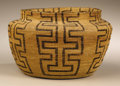 Native American:Pottery and Baskets, Pima Coiled Bottleneck Basket. Circa 1900. Height 5 in. Diameter 73/4 in.. This finely coiled basket has slightly flaring...