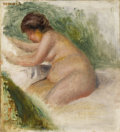Fine Art - Painting, European:Antique  (Pre 1900), PIERRE-AUGUSTE RENOIR (French 1841-1919). Gabrielle Nue, Assisesur un lit (Gabrielle Nude, Sitting on a Bed). Oil on li...