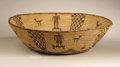 Native American:Pottery and Baskets, Apache Coiled Pictorial Bowl. Circa 1910. Height 5 in. Diameter 171/4 in.. This tightly coiled basket with flaring sides ...