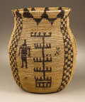 American Indian Art:Baskets, AN APACHE PICTORIAL COILED STORAGE JAR. . c. 1910. ...