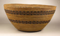 Native American:Pottery and Baskets, Yokuts Cooking Basket. Circa 1910. Height 10 1/4 in. Diameter 22in.. This large coiled cooking bowl is decorated with two...