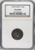 Egypt: , Egypt: Fuad 1/2 Millieme 1924H, KM330, Proof 64 Brown NGC....