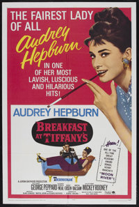 "Breakfast At Tiffany's (Paramount, R-1965). One Sheet (27"" X 41""). Romance. Starring Audrey Hepburn, George Pe..."