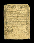 Colonial Notes:Massachusetts, Massachusetts August 18, 1775 4s Fine. This is the only example of this denomination that we have handled. On the back, in b...
