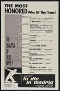 "Movie Posters:Documentary, To Die in Madrid (Altura Films International, 1965). One Sheet (27"" X 41""). Documentary. Featuring the voices of Sir John Gi..."