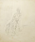 Fine Art - Painting, American:Contemporary   (1950 to present)  , ELAINE MARIE DE KOONING (American 1918-1989). Seated Ethel,1964. Pencil on paper. 17 x 14 inches (43.2 x 35.6 cm). Sig...