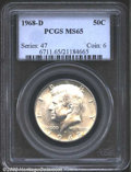 """Kennedy Half Dollars: , 1968-D 50C MS65 PCGS. The latest Coin World """"Trends"""" price ..."""