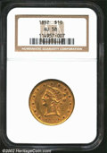 Liberty Eagles: , 1852 $10 AU58 NGC. An original coin with most of the ...