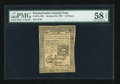 Colonial Notes:Pennsylvania, Pennsylvania October 25, 1775 18d PMG Choice About Unc 58 EPQ....