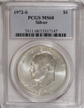 Eisenhower Dollars: , 1972-S $1 Silver MS68 PCGS. PCGS Population (1320/12). NGC Census: (312/5). Mintage: 2,193,056. Numismedia Wsl. Price for N...