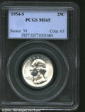 """Washington Quarters: , 1954-S 25C MS65 PCGS. The latest Coin World """"Trends"""" price ..."""