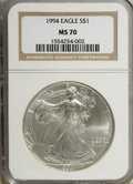 Modern Bullion Coins: , 1994 $1 Silver Eagle MS70 NGC. NGC Census: (155/0). PCGS Population(0/0). Mintage: 4,227,319. Numismedia Wsl. Price for NG...
