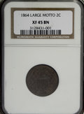 Two Cent Pieces: , 1864 2C Large Motto XF45 NGC. NGC Census: (5/1137). PCGS Population(28/751). Mintage: 19,847,500. Numismedia Wsl. Price fo...