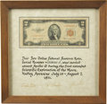 Explorers:Space Exploration, Apollo 15 Flown and Signed Two Dollar Bill, also Signed on thePresentation Certificate....