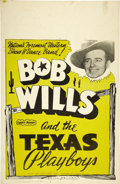 Music Memorabilia:Posters, Bob Wills and the Texas Playboys Concert Window Card (circa 1960).Here in Texas, home of Heritage Auction Galleries, Bob Wi...(Total: 1 Item)