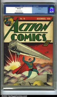 Action Comics #19 Rockford pedigree (DC, 1939) CGC FN 6.0 Cream to off-white pages. Overstreet 2002 FN 6.0 value = $1,32...