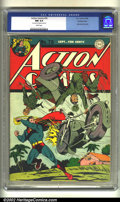 Golden Age (1938-1955):Superhero, Action Comics #76 Double cover (DC, 1944) CGC NM 9.4 White pages. 1st cover 9.0, interior cover 9.4. Japanese war cover. Ove...