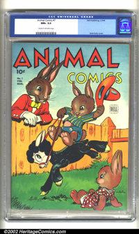Animal Comics #7 (Dell, 1944) CGC NM+ 9.6 Cream to off-white pages. Overstreet 2002 NM 9.4 value = $230