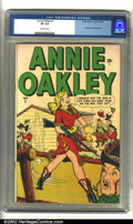 Golden Age (1938-1955):Western, Annie Oakley #1 (Timely, 1948). CGC VF 8.0 Off-white pages. Overstreet 2002 VF 8.0 value = $257....
