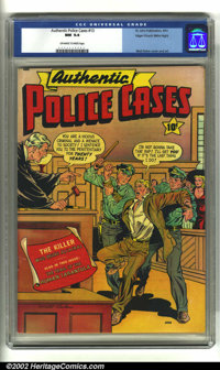 Authentic Police Cases #13 Mile High pedigree (St. John, 1951) CGC NM 9.4 Off-white to white pages. Terrific Matt Baker...